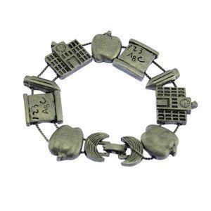 Pewter Teacher Slide Charm Bracelet